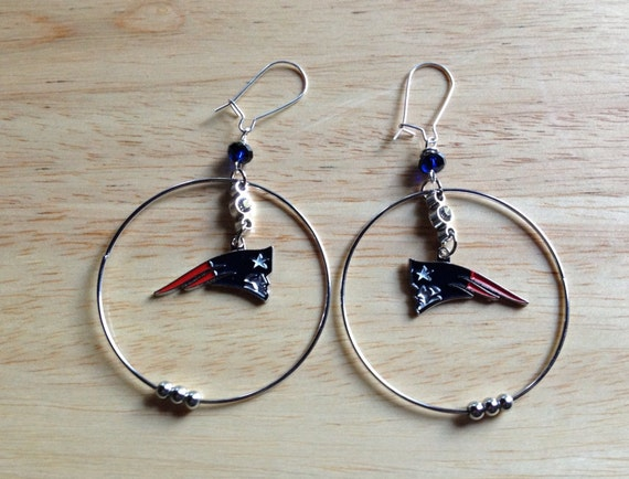 patriots earrings new patriots hoop earrings by jewelzbyroz on etsy 5258