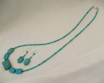 Blue mosaic turquoise necklace and matching earrings.