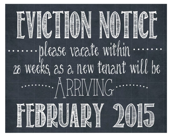 eviction notice pregnancy announcement sign personalized. Black Bedroom Furniture Sets. Home Design Ideas