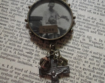 Vintage image of lovers under resin ~ assemblage necklace