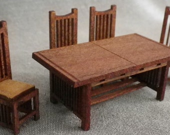Banquette with trestle table is a kit for dollhouse furniture - Dining room chair kits ...