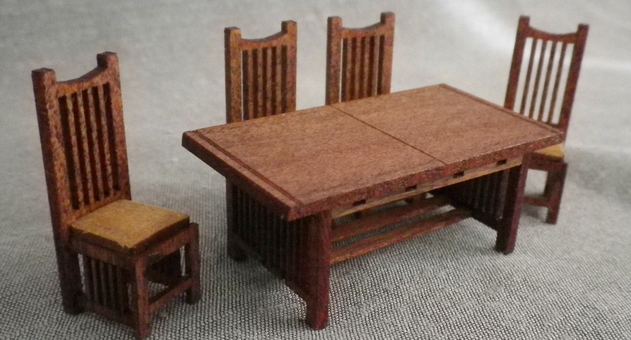 stickley style dining room table and 4 chairs kit quarter