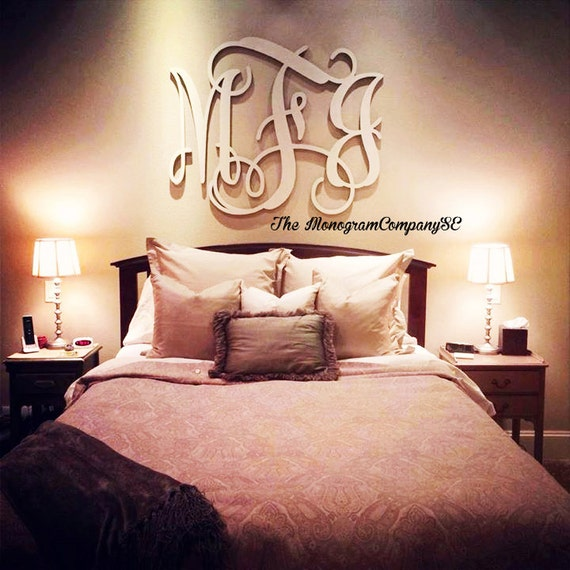 Wooden monogram wall hanging initials photo prop graduation for Bedroom 5 letter words