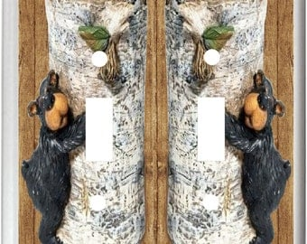 Black Bear Hugging Birch Tree k1  Light Switch Cover Plate or Outlet   Rustic Home  Decor  Free Shipping in U.S.!!!