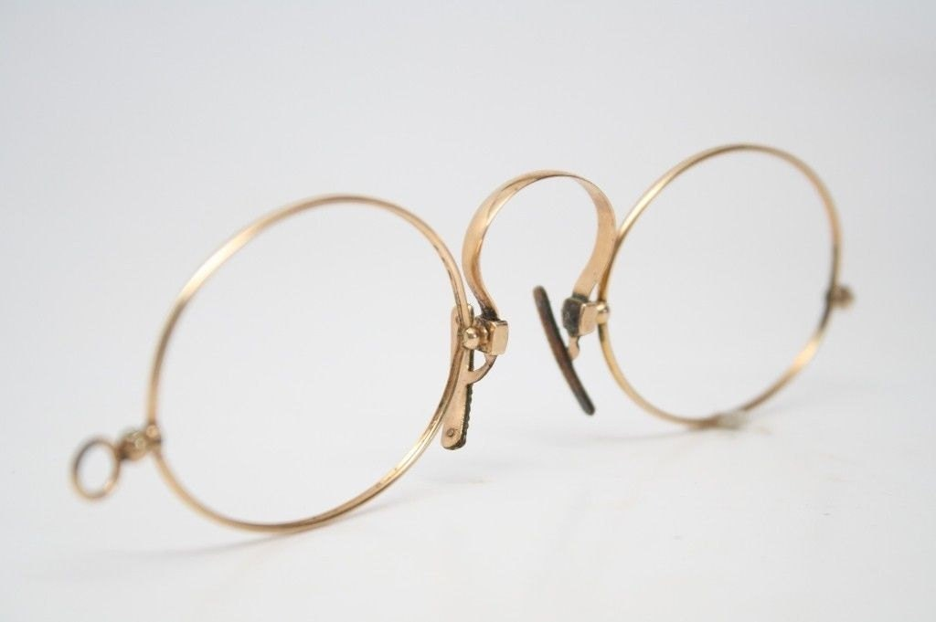Spring Bridge Pince Nez Glasses Gold Filled Antique Eyeglasses