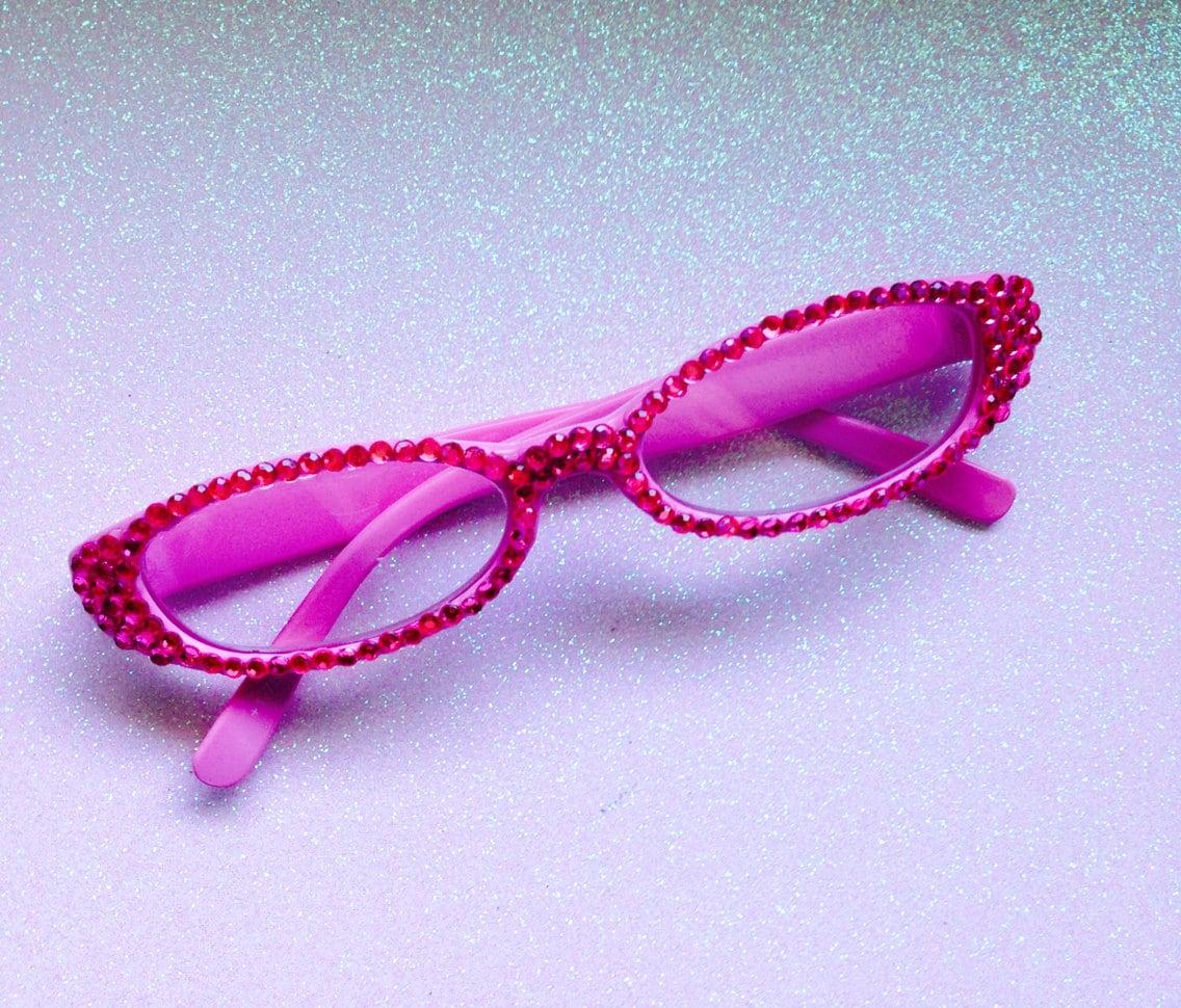 rhinestone bling reading glasses pink