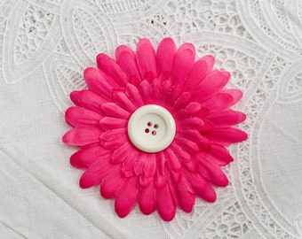 Pink Silk  Daisy Flower Hair Clip with a White Button Center