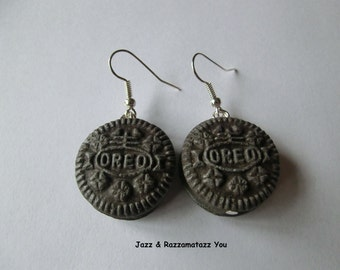 Handcrafted Fimo Oreo Cookie Earrings
