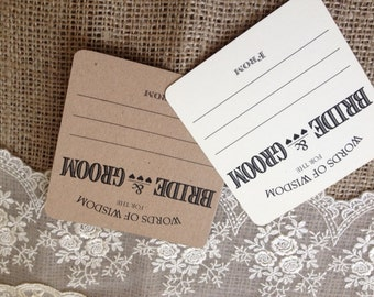 10 x Rustic/Vintage/Shabby Chic Wedding Wish Cards in ivory or kraft brown