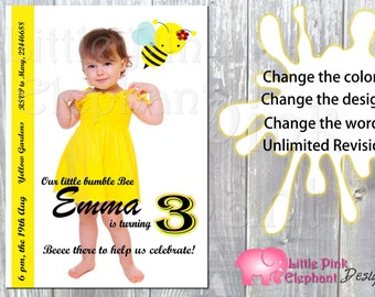 Bumble bee birthday invitation- bee birthday invite- bumble bee invitation- bee invite
