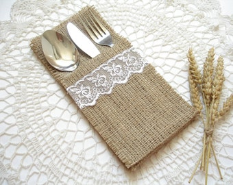 Set of 50 - Burlap Silverware Holder wish white lace  - Table Decor - Rustic Wedding - Wedding Table - Table Setting