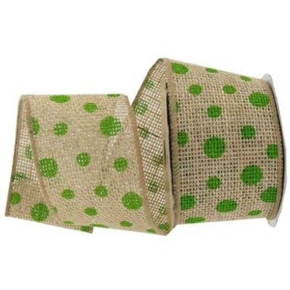 Lime green polka dot burlap ribbon for Green burlap ribbon