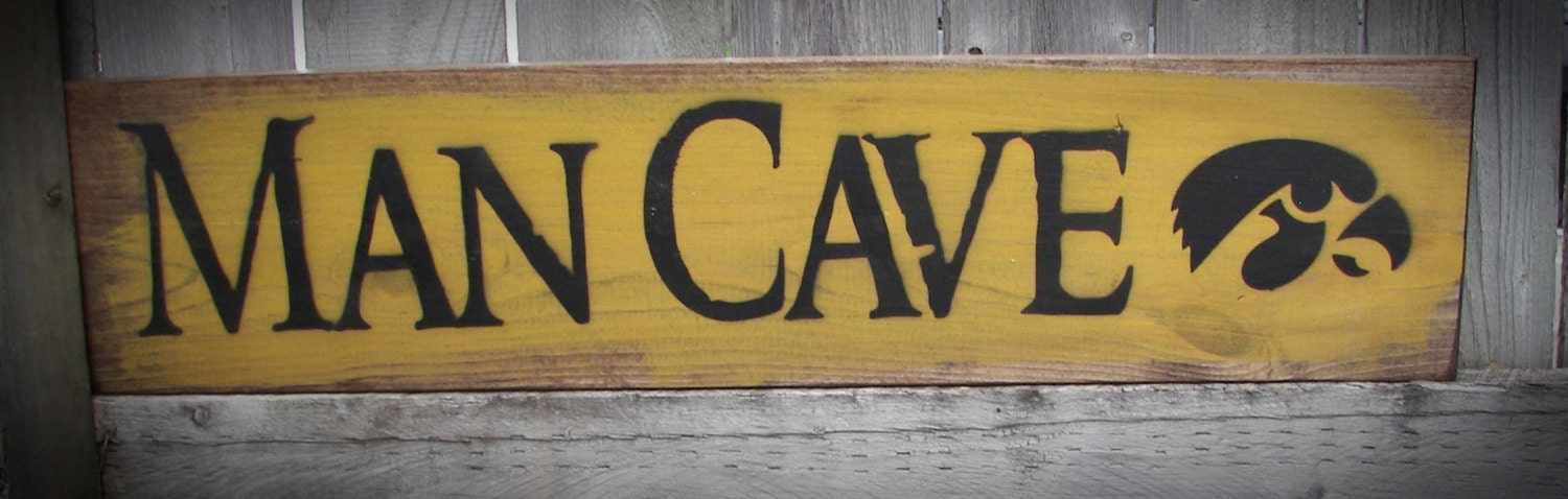 Timber Man Cave Signs : Iowa hawkeye man cave wood sign father s day