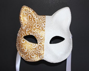 Cat Mask half gold half white with white swirls