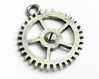 Gear/Watch Charm with Open Center, Steampunk Charms,17mm, Made in USA, #Q123