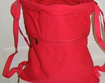 Red Drawstring Bag- Ready for Monogramming or Embroidery