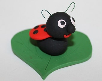 Polymer Clay Cute Ladybug Figurine, good for Decoration, Personalised Gift, Cake Topping, Cake Decoration, Cake Topper