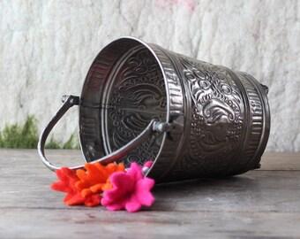 Vintage Moroccan Hammam Bucket, Vintage Ice Bucket, Vintage Champagne Busket