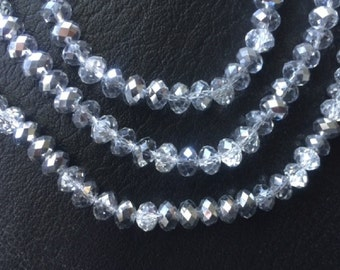 "16"" Chinese Glass 8mm Faceted Rondelle Beads – Half Silver Coated and Half Clear"