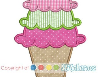 Ice Cream  Applique Design -In Hoop sizes 4 x 4, 5 x 7, 9 x9 - Instant Download - for Embroidery Machines