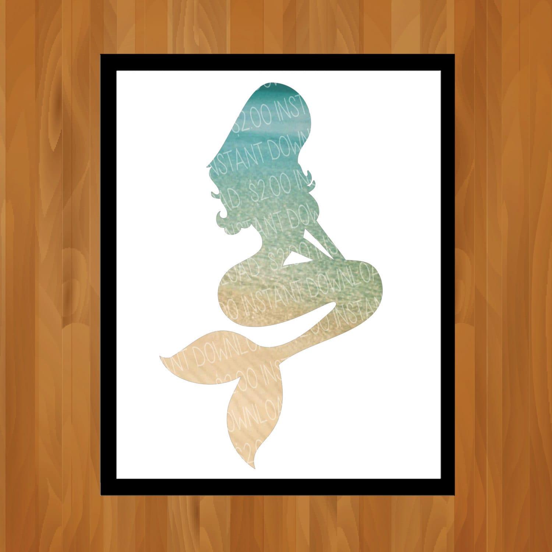 Diy Mermaid Wall Decor : Beach dream mermaid silhouette printable wall art by