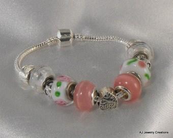 Pink and White Lampwork Beads European Style Bracelet  (BD-538)
