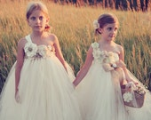 Ivory Burlap Flower girl Dress…Champagne Flower girl Dress…Champagne Junior Bridesmaid