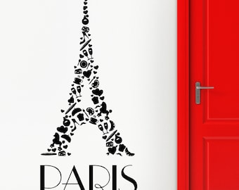 Wall Stickers Vinyl Decal Eiffel Tower Paris Romantic France Vacation (z1822)