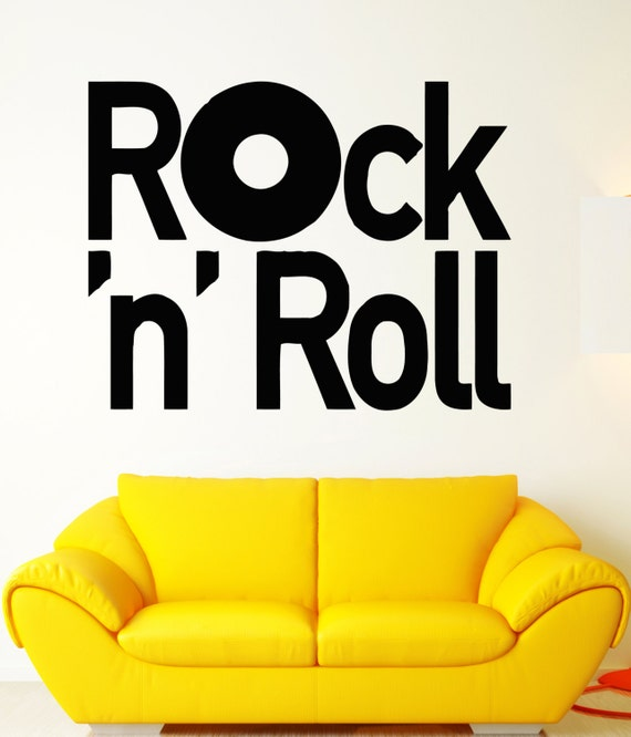 Wall stickers vinyl decal rock music guitar rock n roll cool for Rock n roll living room