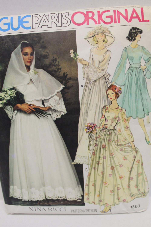 70s Vogue Bohemian Wedding Dress Sewing Pattern Size 14 36