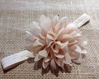 Beige flower headband, Big flower headband, Tan flower headband, Newborn headband, Girls headband, Baby girl headband,