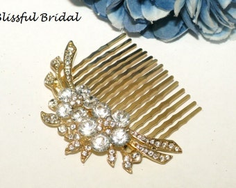 Crystal Gold Hair Comb, Rhinestone Gold Hair Comb, Wedding Comb, Gold Bridal Hair Comb