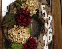 Burlap Wreath, Maroon Hydrangeas, White Hydrangeas, Street Number, Address, Numbers, Year Round Wreath