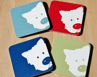 Peek A Boo Dog Coaster (Set of Four)