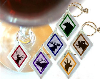 "Wine Glass Charms ""Wildlife Silhouettes"" from rescued, repurposed window glass~ When you don't want to share, mark your glass!"