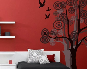 CREATIVE DESIGN: Tree and Birds Wall Decal Art Home Deco Vynil Office/ Living Room/Dining Room etc