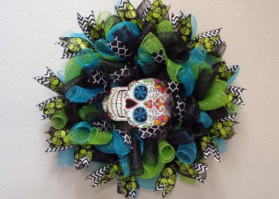 Halloween Sugar Skull wreath by AnyOccasionWillDo on Etsy