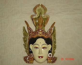 "Indonesian White Faced Sita Wood Mask 13.5"" tall, Bali Art, Novica by Subrata"