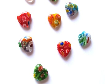 Glass millefiori heart beads 12mm /20pcs