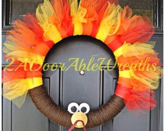Thanksgiving Turkey Wreath - Fall Wreath - Red, Yellow and Orange Wreath - Gobble Gobble - Yarn and Tulle Wreath