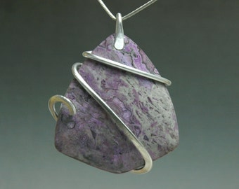 Purple stone Cold Forged Pendant