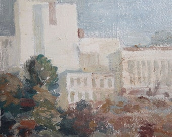 1984 Impressionist cityscape oil painting