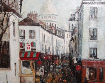 Vintage impressionist cityscape oil painting signed