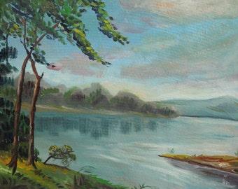Vintage European impressionism oil painting river landscape