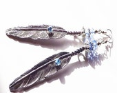 feather earrings, metal feather earrings with blue rhinestones and crystals,
