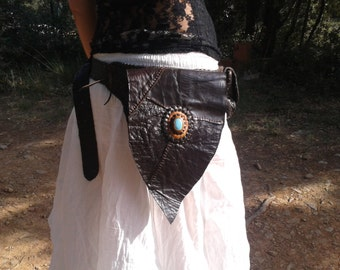 belt leather multipoche