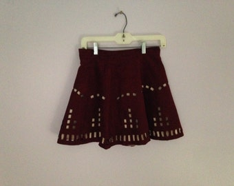 405. SALE~ Vintage red velvet skirt