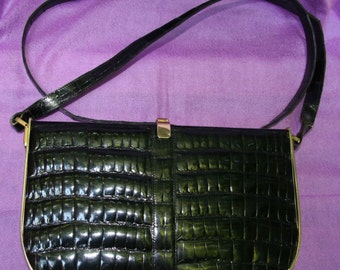 Rare vintage Charles Jourdan Paris black leather handbag purse - 1980s -