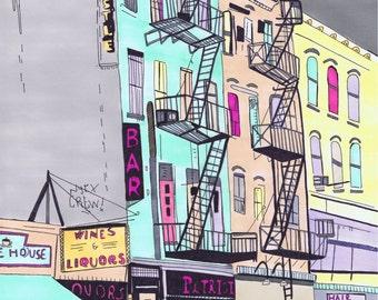SALE A3 Giclee print of a New York street scene