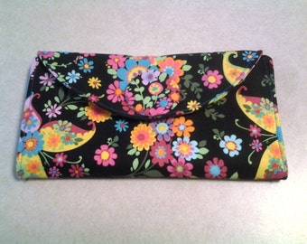Black with Multi Colored Flowers and Turquoise interior - Wallet - W108